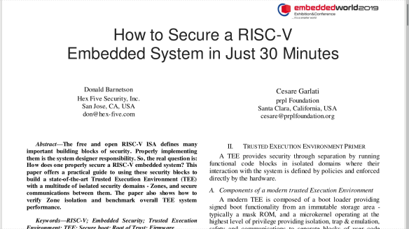 How to Secure a RISC-V Embedded System in Just 30 Minutes